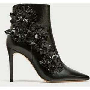 ZARA HIGH HEEL ANKLE BOOTS WITH FLORAL Trim